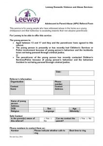 thumbnail of Leeway Adolescent to Parent Violence Referral Form