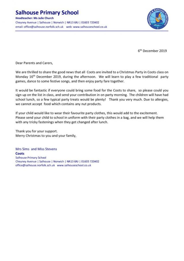 thumbnail of Christmas Party letter